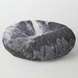 Bridalveil Falls. Yosemite California in Black and White Floor Pillow