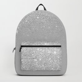Trendy modern silver ombre grey color block Backpack
