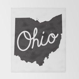 Ohio Typography Map Throw Blanket