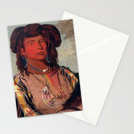Head Chief of the Miniconjou Tribe by George Catlin Stationery Cards