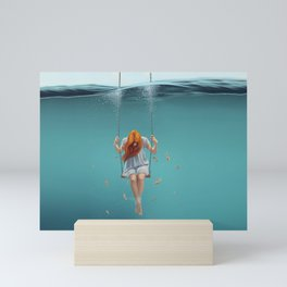 Fantastic Surreal Pretty Long Hair Lonely Female On Submarine Seesaw UHD Mini Art Print
