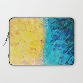 THE DIVIDE - Stunning Bold Colors, Ocean Waves Sun, Modern Beach Chic Theme Abstract Painting Laptop Sleeve
