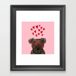 Pitbull head love hearts valentines day gifts for dog breed pibble lovers Framed Art Print