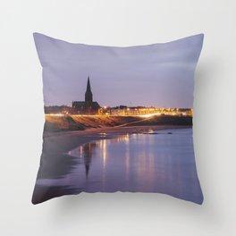 Tynemouth Church at dusk twilight. Northumberland, UK. Throw Pillow