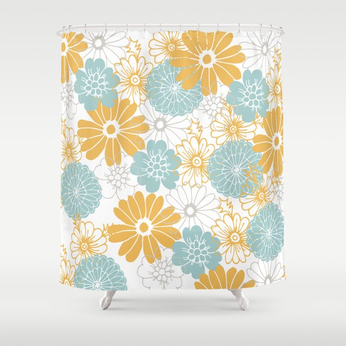 Mustard And Tiffany Blue Flowers Shower Curtain