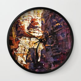 Watercolor of Khmer/Buddhist temple of the Bayon at Angkor Wat ruins- Siem Reap, Cambodia Wall Clock