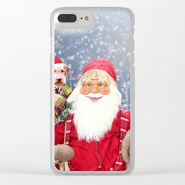 Santa Claus w Christmas Gifts Airedale Dog Clear iPhone Case
