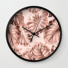 Rose Gold Monstera Leaves on Blush Pink 2 Wall Clock