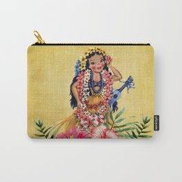 Hula Doll With Ukelele and Big Pink Flowers Carry-All Pouch