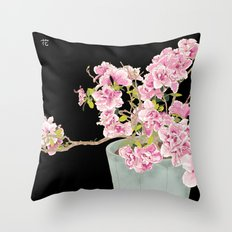 Heavenly Blossom on Black Throw Pillow