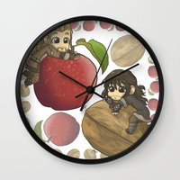 kili Wall Clocks featuring Apple&Walnut_Fili&Kili by AlyTheKitten