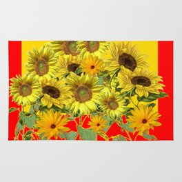 GOLDEN-RED SUNNY YELLOW SUNFLOWERS Rug