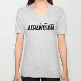 Lacrosse is LACRAWESOME LAX Sport G.O.A.T Lacrosse Player Lacrosse Game Steeze Steeze Unisex V-Neck