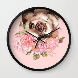 Baby Sloth with Flowers Crown Wall Clock
