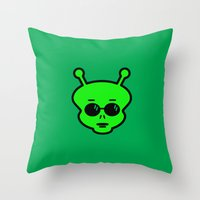 alien Throw Pillows featuring Alien by Spooky Dooky