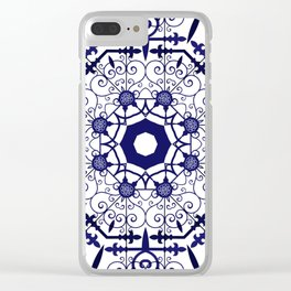 Blue and White Mandala Tile Pattern Clear iPhone Case