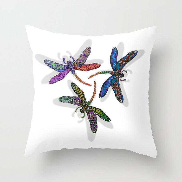 DRAGONFLY CIRCLE Throw Pillow