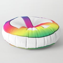 Peace Sign Rainbow Spectrum, Power of Peace, Power of Love, Super Sharp PNG Floor Pillow