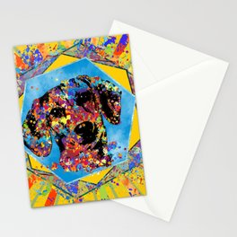 Dachshund dog  - Doxie Abstract Mixed Media Stationery Cards