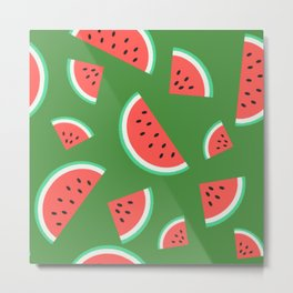 Watermelon Summer Pattern - green Metal Print