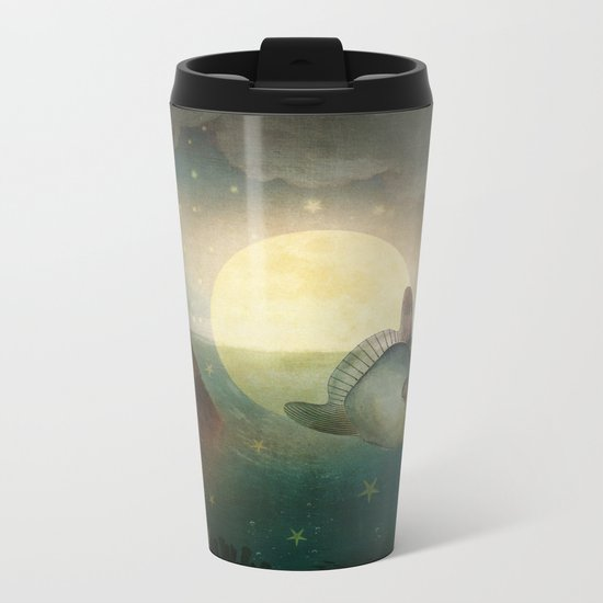 The Fish That Stole The Moon Metal Travel Mug
