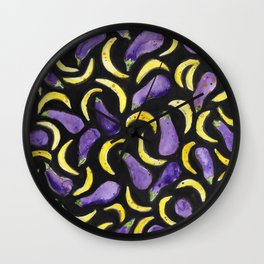 Eggplant & Bananas Wall Clock