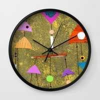 50s Wall Clocks featuring Retro Fantasy 50s by Beatrice Roberts