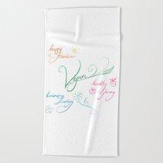 Vegan & happy lifestyle Beach Towel