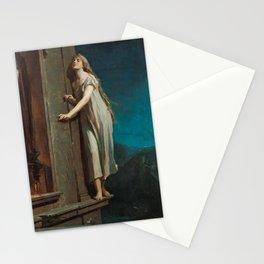 The Sleepwalker, or The Sleeping Girl Walks on the Window-Ledge by Maximilian Pirner Stationery Cards