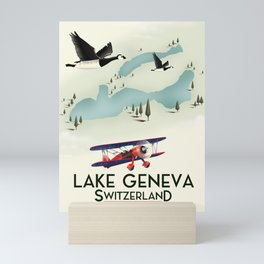 lake geneva, Switzerland, travel poster print art. Mini Art Print