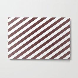 Pantone Red Pear & White Stripes Fat Angled Lines - Stripe Pattern Metal Print