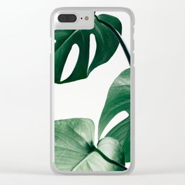 Plant, Green, Monstera, Leaf, Minimal, Trendy decor, Interior, Wall art, Photo Clear iPhone Case