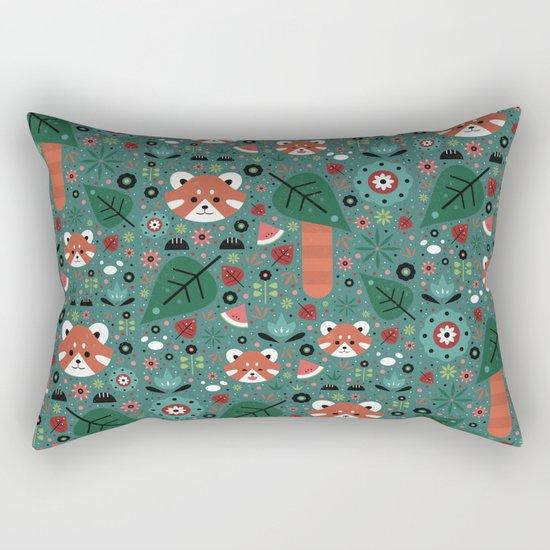 Red Panda & Cubs Rectangular Pillow