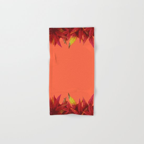 Autumn leaves (light red background) Hand & Bath Towel