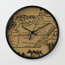 Vintage Illustrative Kentucky and Tennessee Map (1912) - Tan Wall Clock