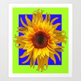 Blue-Chartreuse Yellow Sunflower Floral Design Art Print