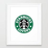 starbucks Framed Art Prints featuring Starbucks Lovers by finn