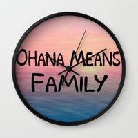 ohana Wall Clocks featuring Ohana by Amy Copp