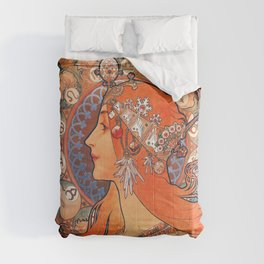 Alphonse Mucha Cycles Perfecta Comforters