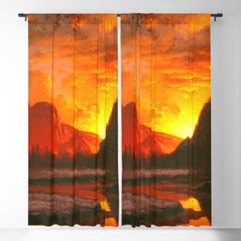 Classical Masterpiece 'Sunset in the Yosemite Valley' by Albert Bierstadt Blackout Curtain