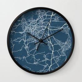 Clermont - Ferrand Blueprint Street Map, Clermont - Ferrand Colour Map Prints Wall Clock