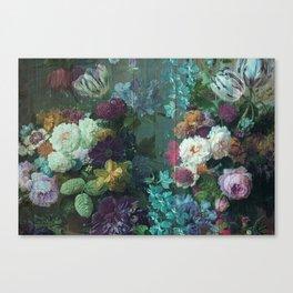 Vintage abundant floral woodpanel teal Canvas Print