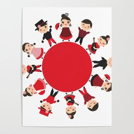 Spanish flamenco dancer. Kawaii cute face with pink cheeks and winking eyes. Gipsy Poster
