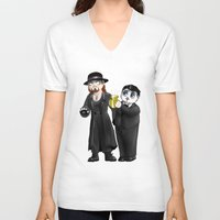wwe V-neck T-shirts featuring Chibi WWE - Undertaker and Paul Bearer 1 by Furiarossa