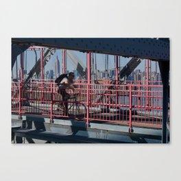 Cyclist on Williamsburg Bridge Canvas Print