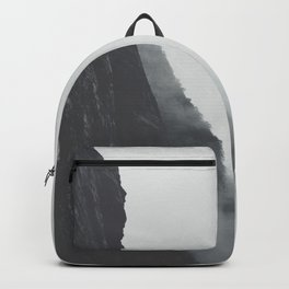 Black And White Misty Cliff Photography Mystery Foggy Landscape Backpack