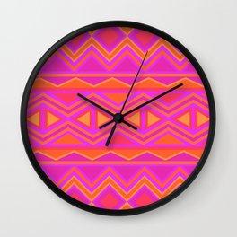 Tribal Pattern (Pink & Orange) Wall Clock