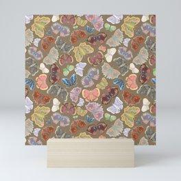 Moths Pattern - tan Mini Art Print