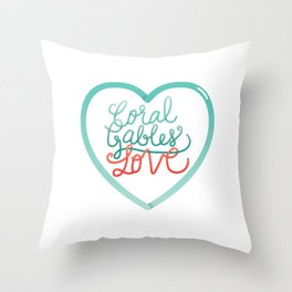 Coral Gables Love Throw Pillow