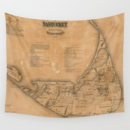 Vintage Map of Nantucket (1869)  Wall Tapestry